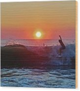 Surfer Sunrise 8 10/2 Wood Print