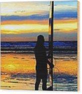 Surfer Sunset Wood Print