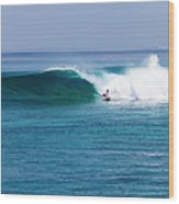 Surfer Surfing A Wave Wood Print