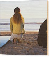 Surfer Woman And Dog On Beach Wood Print