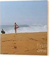 Surfers At Newport Beach Wood Print