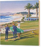 Surfers Gathering At Del Mar Beach Wood Print