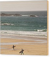 Surfers On Beach 01 Wood Print by Pixel Chimp