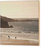 Surfers On Beach 03 Wood Print