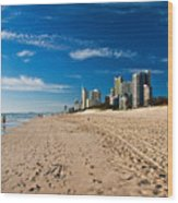 Surfers Paradise Beach By Day Wood Print