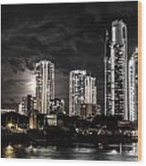 Surfers Paradise By Night Wood Print