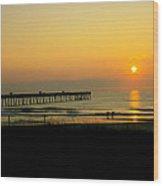 Surfers Sunrise Wood Print