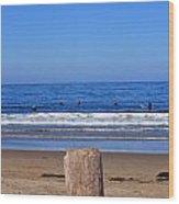 Surfers Waiting.... Wood Print