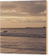 Surfing At Dusk Wood Print