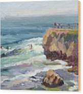 Surfing At Steamers Lane Santa Cruz Wood Print