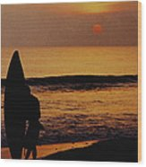 Surfing At Sunset Wood Print by Anonymous