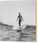 Surfing At Waikiki Beach Wood Print