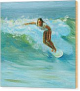 Surfing Wood Print