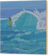 Surfing Big Waves On The North Shore Of Oahu Wood Print