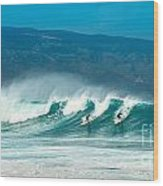 Surfing Duel Wood Print