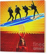 Surfing For Peace Wood Print