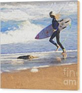Surfing girl Wood Print