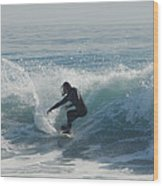 Surfing In The Sun Wood Print
