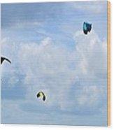 Surfing Kites Wood Print