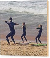Surfing Lesson Wood Print