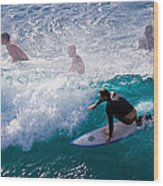 Surfing Maui Wood Print