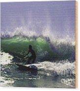 Surfing Pt. Judith Wood Print