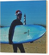 Surfing Santa Cape Hatteras Lighthouse 3 12/19 Wood Print