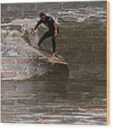 Surfing The Bricks Wood Print