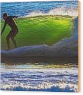 Surfing The Waves 2 Wood Print