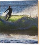 Surfing The Waves Wood Print