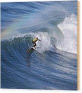 Surfing Under A Rainbow Wood Print