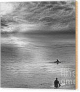 Surfing With The Dolphin Wood Print by Artist and Photographer Laura Wrede