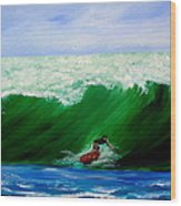 Surf's Up Surfing Wave Ocean Wood Print