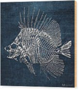 Surgeonfish Skeleton In Silver On Blue  Wood Print