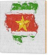 Suriname Painted Flag Map Wood Print