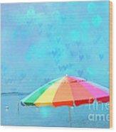 Surreal Blue Summer Beach Ocean Coastal Art - Beach Umbrella  Wood Print by Kathy Fornal