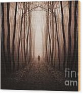 Surreal Dark Forest With Man Walking Trough Trees Wood Print