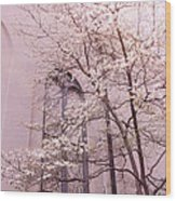 Surreal Dreamy Church Window With Pink Trees Wood Print