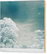 Surreal Dreamy Infrared Teal Turquoise Aqua Nature Tree Lanscape Wood Print by Kathy Fornal