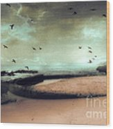 Surreal Dreamy Ocean Beach Birds Sky Nature Wood Print