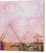 Surreal Dreamy Pink Myrtle Beach Ferris Wheel Wood Print by Kathy Fornal