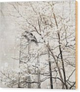 Surreal Dreamy Winter White Church Trees Wood Print