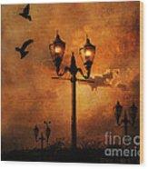 Surreal Fantasy Gothic Night Lanterns Ravens  Wood Print