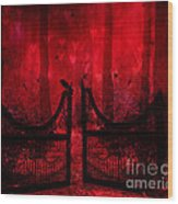 Surreal Fantasy Gothic Red Forest Crow On Gate Wood Print