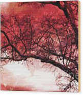 Surreal Fantasy Gothic Red Tree Landscape Wood Print by Kathy Fornal