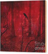 Surreal Fantasy Gothic Red Woodlands Raven Trees Wood Print