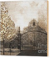 Surreal Fantasy Haunting Gate With Sparkling Tree Wood Print