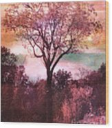 Surreal Fantasy Nature Tree Pink Landscape Wood Print by Kathy Fornal