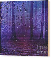 Surreal Fantasy Starry Night Purple Woodlands - Purple Blue Fantasy Nature Fairy Lights  Wood Print