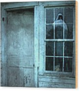 Surreal Gothic Grim Reaper In Window - Spooky Haunted House Reflection In Window Wood Print by Kathy Fornal